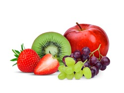 kiwi fruit,strawberry,grape and red apple isolated on white background, mix fruit for health