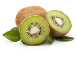 Kiwi fruit whole and sliced, isolated on white background. With green leaves. Close-up.