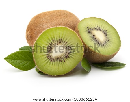 Kiwi fruit whole and sliced, isolated on white background. With green leaves. Close-up. #1088661254