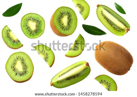 kiwi fruit with slices and green leaves isolated on a white background. top view Zdjęcia stock ©