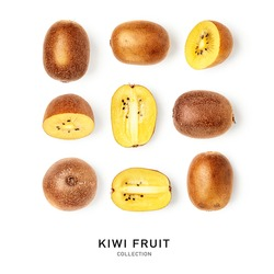 Kiwi fruits collection and creative pattern isolated on white background. Healthy eating and dieting food concept. Yellow kiwifruit composition and design elements. Top view, flat lay