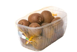 Kiwi in plastic box with clipping path