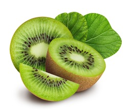 kiwi isolated on white background with clipping path