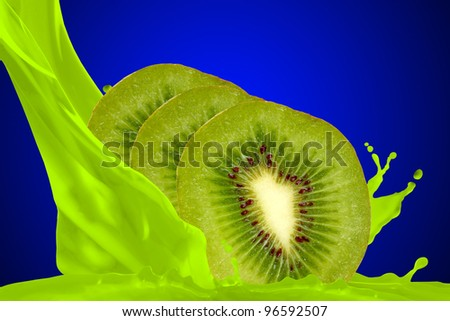 Kiwi juice isolated on blue background