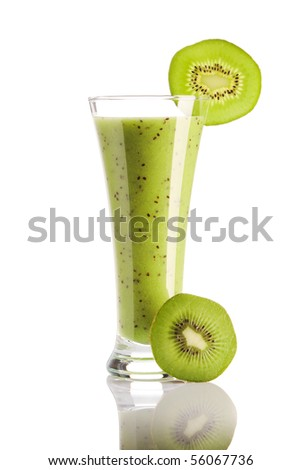 Kiwi smoothie isolated on white