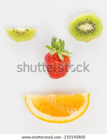 kiwi, strawberry and orange in the shape of the face #210140800