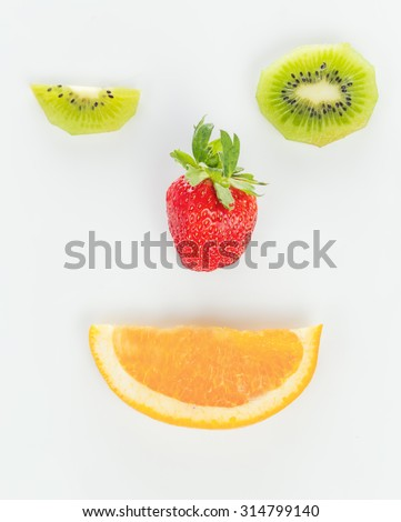 kiwi, strawberry and orange in the shape of the face