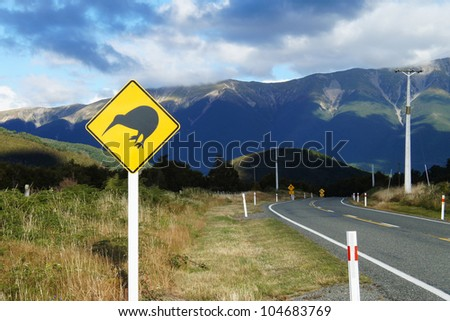 Kiwi warning sign by the road in New Zealand
