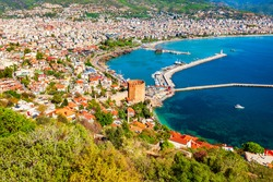 Kizil Kule or Red Tower and port aerial panoramic view in Alanya city, Antalya Province on the southern coast of Turkey