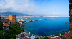 Kizil Kule - Red Tower as symbol of Alanya, Turkey, High Angle Panoramic View