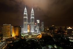 KL Petronas Towers at night