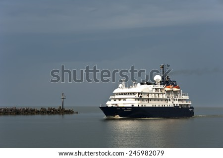 KLAIPEDA,LITHUANIA- JULY 06 cruise liner in port on July 06,2012 in Klaipeda,Lithuania.MS Island Sky is one of our two flagships and one of the finest small ships in the world