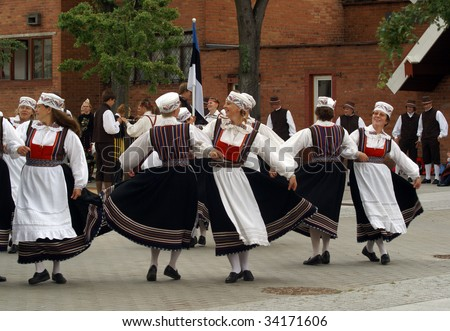 KLAIPEDA, LITHUANIA - JULY 23 : Participants take part in the Europeade 2009 Festival of European folk culture July 23, 2009 in Klaipeda, Lithuania.
