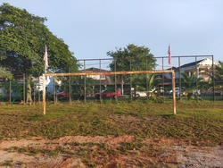 Klang, Malaysia : October 18th, 2020. A goal post with two Malaysian flags.
