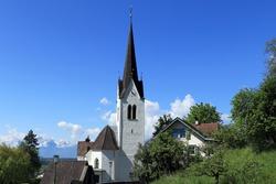 Klaus, Vorarlberg, Austria, April 22., 2020, view of the church of Klaus