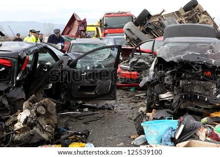 KLEIDI,GREECE - JAN,22: 28 vehicle pile… Stock Photo 125539121