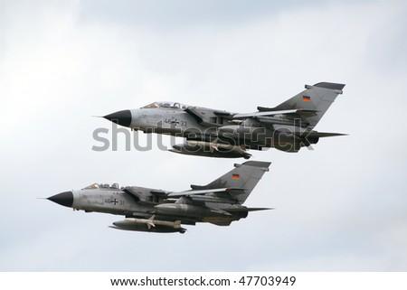 KLEINE BROGEL, BELGIUM - JULY 20: German Tornado's take-off. Belgium Spotterday July 20, 2005 in Kleine Brogel, Belgium