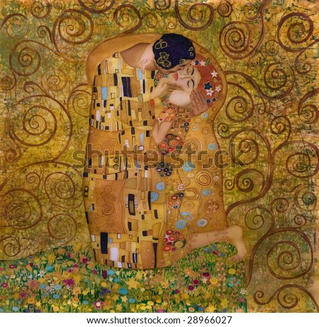 klimt inspired abstract art batik painting on the grounds of Gustav Klimt