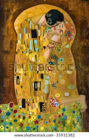 klimt inspired abstract art, batik painting on the grounds of Gustav Klimt