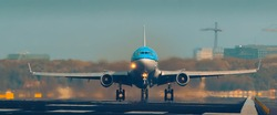 KLM plane is rotating on the runway