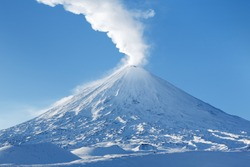 Klyuchevskaya Sopka (also known as Klyuchevskoi Volcano or Klyuchevskoy Volcano) - stratovolcano, highest mountain on Kamchatka Peninsula (Russian Far East), highest active volcano of Europe and Asia.