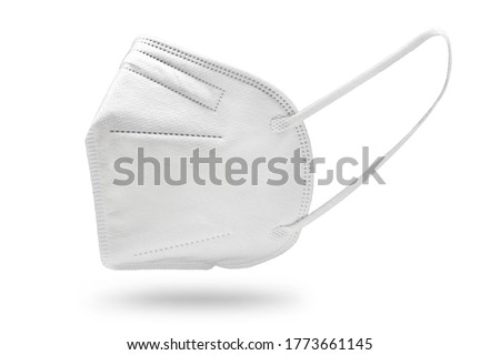 KN95 FFP2 Face mask isolated on white background. Protection against Coronavirus Covid-19