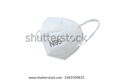 KN95 or N95 mask for protection pm 2.5 and corona virus (COVD-19).Anti pollution mask.air face mask.KN95 or N95 mask with N95 word.n95 on white background .