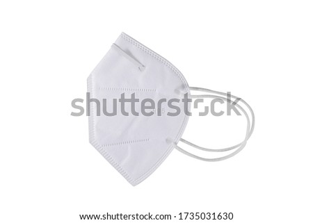 KN95 or N95 mask for protection pm 2.5 and corona virus (COVIT-19).Anti pollution mask.air face mask.KN95 or N95 mask with N95 word.n95 on white background with clipping path