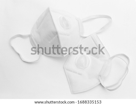 KN95 or N95 mask protection safety for Coronaviruses. N95 face mask on white background.