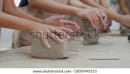 Kneading clay material before making pottery Сток-фото ©
