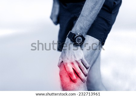 Knee pain, runner leg and muscle pain running and training outdoors, sport and jogging physical injuries when working out. Male athlete holding painful leg.