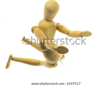 Kneeling wood mannequin on a white background