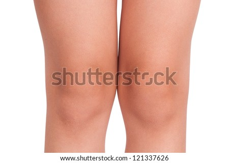 Knees a little child on white background