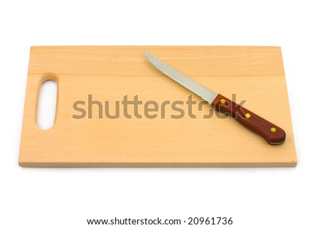 Knife and chopping board isolated on white background