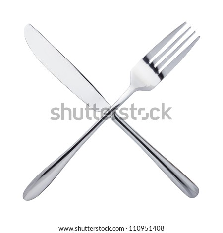 Knife and fork crossed, isolated on white background