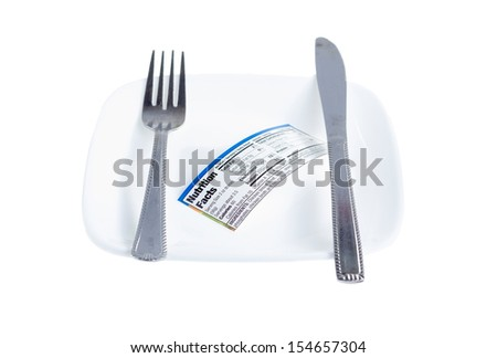 Knife and fork laid side by side with nutritional facts label on plate isolated on white background. Selective shallow focus on the label.