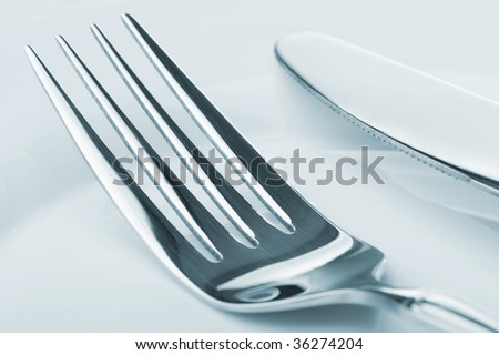 Knife and fork on a plate #36274204
