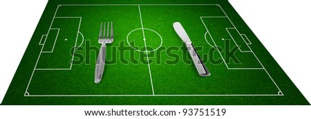 knife and fork on football field concept