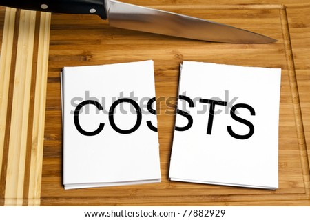 Knife cut paper with costs word