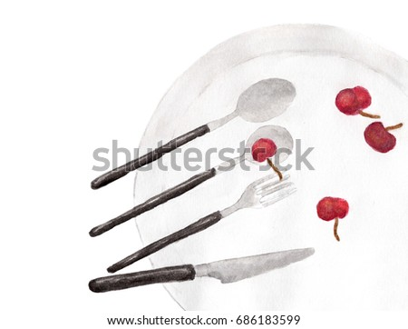 Knife, fork and spoon on dish with cherry - watercolor painting on white background