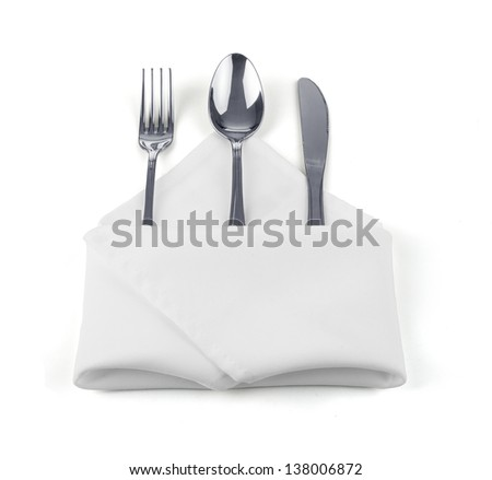 knife, fork and spoon on white