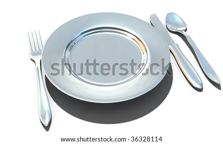 knife, fork, spoon and plate - isolated 3d render