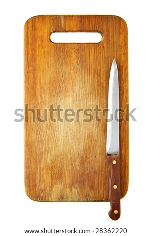 Knife on chopping board isolated over white background