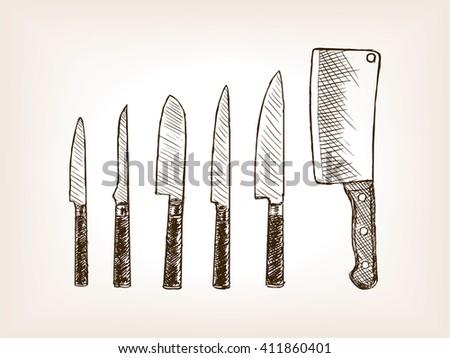 Knife set sketch style raster illustration. Old engraving imitation.
