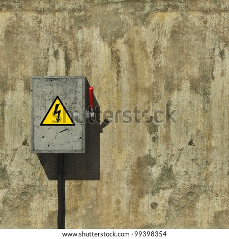 Knife switch on old dirty wall - stock photo