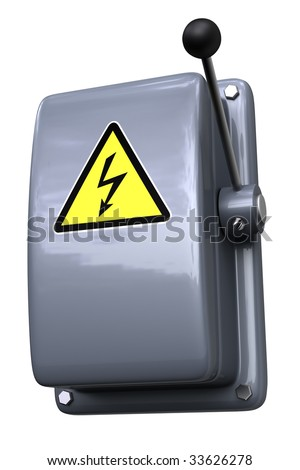 Knife switch with a high voltage warning sign.  Isolated against a white background.