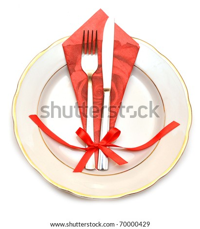 Knife, white plate and fork on white background