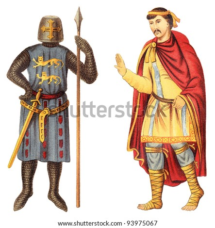 Knight and frankish nobleman (Middle Ages) / vintage illustration from Meyers Konversations-Lexikon 1897