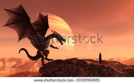 Knight and the dragon in magical landscape,3d art illustration for book illustration or book cover