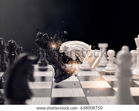 Knight chess attack to win the race. Concept for business strategy, 3D illustration
